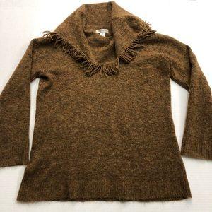 Susan Bristol Fringe Cowl Neck Sweater Wool 2XL